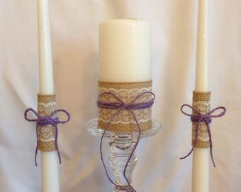 unity candle set rustic unity candle and tapers wedding unity candle burlap unity