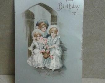 Vintage Birthday Postcard 1909