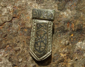 Ancient Viking C. 9th-10th Century A.D. Bronze and Niello decorated Belt Strap End / Authentic 1,000-year-old artifact