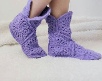 warm homemade knitted Slippers