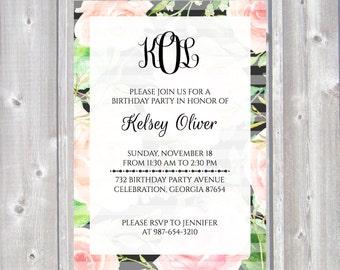 Monogram Birthday Invitation ~ Floral Custom Printable Invite | Monogrammed | Simple Personalized Birthday Party Invites ~ Pink & Black