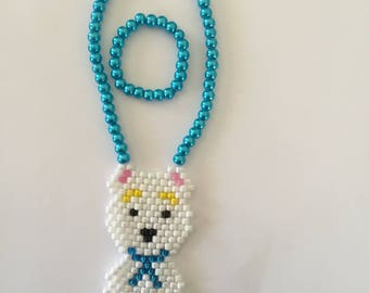 American Girl Doll jewelry set with hand beaded dog focal and pearl sides on necklace and bracelet