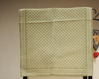 Jacquard linen kitchen tea towel / green squares