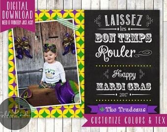 Mardi Gras Chalkboard Photo Card - Printable DIY