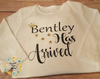 Newborn Personalized Monogramed Bodysuit Onesie Perfect Baby Shower, Coming Home or Going Home Gift. The Star Of The Show Has Arrived!