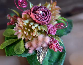 Wrist corsage;prom;rose;pink;succulent;silver bling;wire;artificial;faux;silk;adjustable