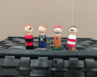 Hand painted Pirates Peg Dolls
