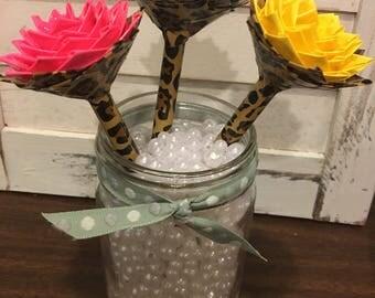 Leopard print duct tape flower pen