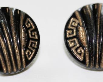 Black Glass Div III Button with Greek Key