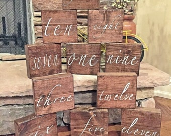 Wedding Table Numbers, Wedding Centerpieces, Block table number, Rustic Wedding Decor, Table Numbers, Wedding Decoration, Set of 20, Painted