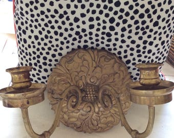 Gorgeous vintage solid brass wall sconce/candelabra