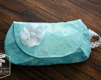 Blue Chiffon Wristlet - Bridesmaid Clutch - Clutch Purse - Bridal Clutch - Clutch Bag - Wedding Clutch