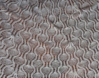 Vintage round crocheted tablecloth in sunray pattern. Proceeds to charity VACD Ltd