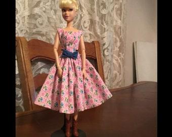 Barbie Doll Pink Flowers Short Dress