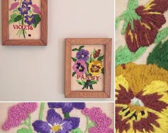 Two Vintage Framed Embroidered Flowers Art