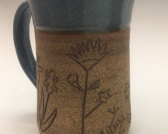 Flower Mug:  Extra large wheel thrown and hand carved mug or beer stein