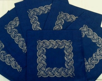 Blue dyed, dark blue, hand printed, 100% cotton table napkins 6 pieces/pack 40, B44
