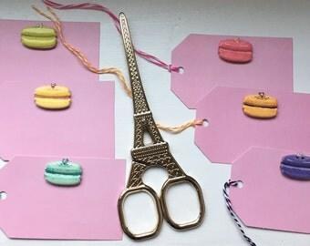 Macaron Tags, Macaron Favor Tags, France Parisian Tags, French Favor Tags, Macaroon Gift Tags- 9 per order