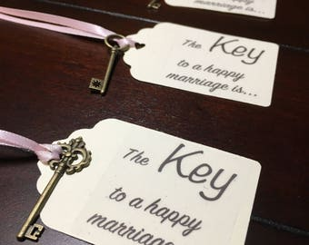 Key Wishing Tags, Key to a happy marriage tags, marriage advice tags, wedding wishing, bridal shower tags, key Tags- 6/order