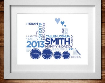Baby Boy Birth Announcement Train Word Art Personalised Print* A4 (Also available as A3)