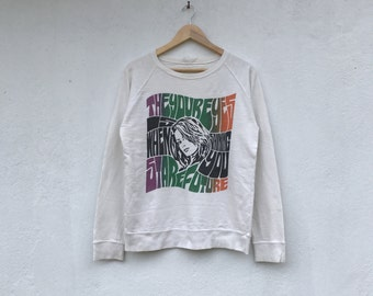 Rare vintage POP ART woman potrait jumper sweatshirt