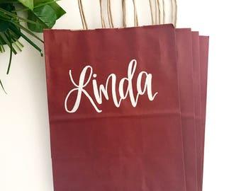 Custom name pinstripe gift bag - color bag, bridesmaid gift, wedding gift bags, hostess gift bag, bridesmaid gift bag, personalized gift bag