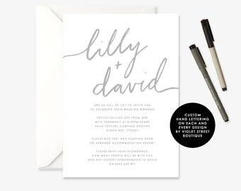 Printable Boho Wedding Invitation, Whimsical Grey Invitation, Hand Lettered Wedding Invitation,  Printable Invite, Hand Lettered