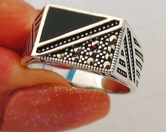 Handmade MEN's RING 925 STERLING silver With black Marcasite stone #468