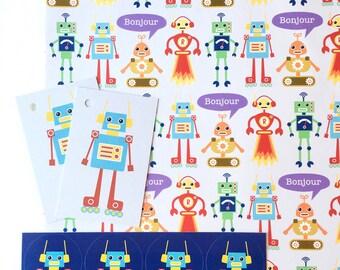 Robot Gift Wrap Set