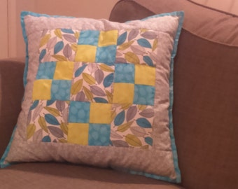 Patchwork Green and Blue Cushion