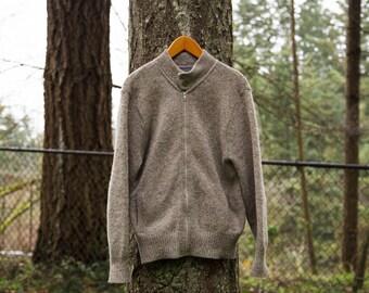 Vintage Pendleton Zip Knit Oatmeal Sweater Size Men's M Portland Oregon Wool