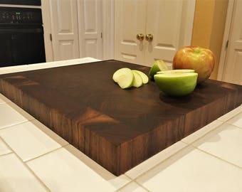 Cutting Board, End Grain Black Walnut Butcher Block