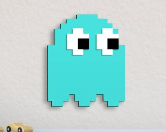 Retro Pac-man Wall Art Blue Ghost Inky
