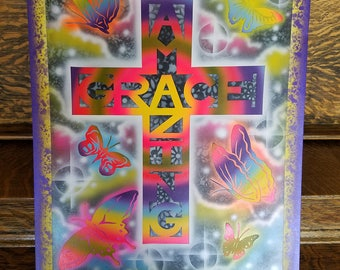 Air brushed painting, colorful, butterflies, decorated cross