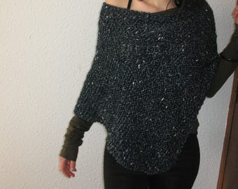 spring poncho, autumn poncho, poncho wool, merino, lurex, fashion poncho, a gift for a woman, green poncho, present, women