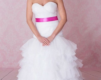 Tulle, organza ruffls dropped waist wedding dress pink sash