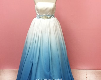 Ombre wedding dress, color wedding dress, light blue wedding dress