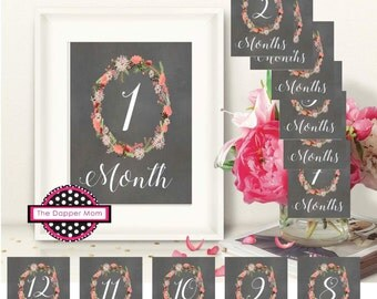 Monthly Baby Update/Baby's First Year/Floral Print/Floral Baby Updates/Floral Milestone/Milestone Prop/My First Year Prop/Monthly Milestone