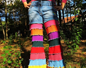Winter pants to leg of elephant in jean and patchwork of multicolored recycled wool!