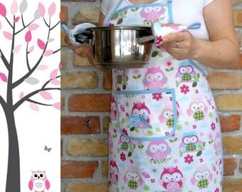Women's apron - Pink owls + 2 potholders