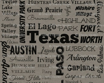 Texas Cities fabric - Fat Quarter - orange and black - grey and black