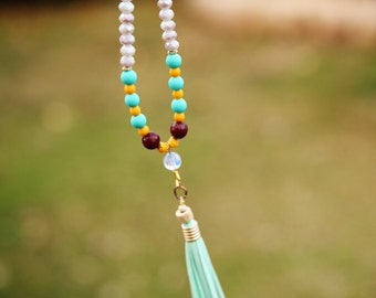 jade necklace, Long beaded necklace, Bead necklace ,chrysocolla stone, Yoga Beads, Accent bead tassel necklace, Turquoise necklace