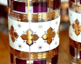 Set 8 Vintage Culver tumblers - Vintage 22k highball - Culver glassware - gold tumblers - vintage gold barware - Mid Century glassware