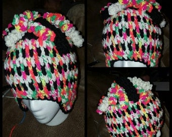 multi-colored earflap beanie with cutls