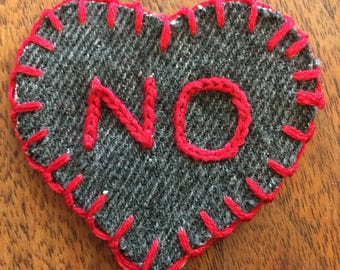 NO Handmade Embroidered Sew-On Patch