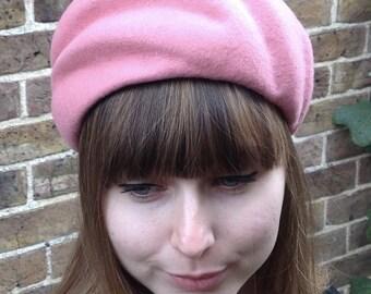 Pale Pink Vintage French Style Hand blocked Wool Felt Hat - Handmade Pale Pink Felt Lined PillBox Headpiece - Winter Wedding Formal Hat