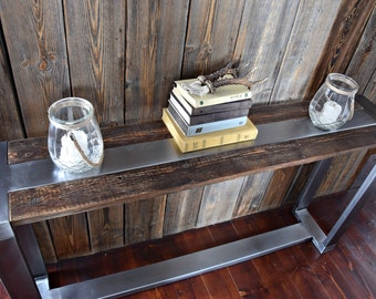 Rustic Handmade farmhouse style Reclaimed Wood & Steel Industrial Console Table a length of 150