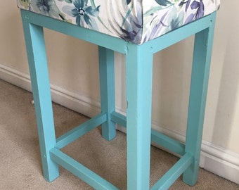 Refurbished/Upcycled Hand Painted Teal Blue Vintage Vanity Stool