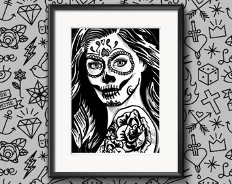 Signed 'Day Of The Dead Girl One' Limited A4 Print