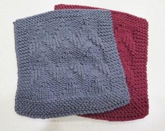 knitted grey wash cloth